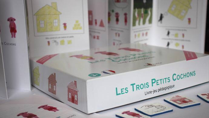 Présentation visuel du packaging du jeux les trois petits cochons