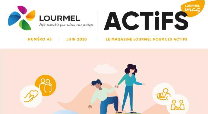 Couverture magazine des actifs - juin 2020, infographie représentant l'entraide entre plusieurs personnes